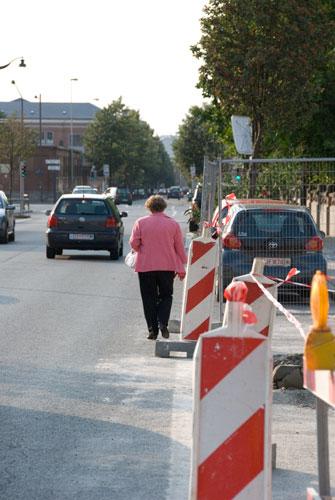 Walking in the Street because of Works on Sidewalk