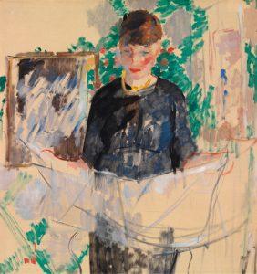 Vrouw in zwart die een krant leest (1912)