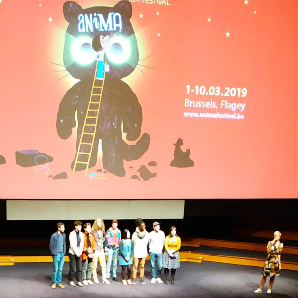 De filmmakers van 'Dit is Belgisch 1' op het podium.