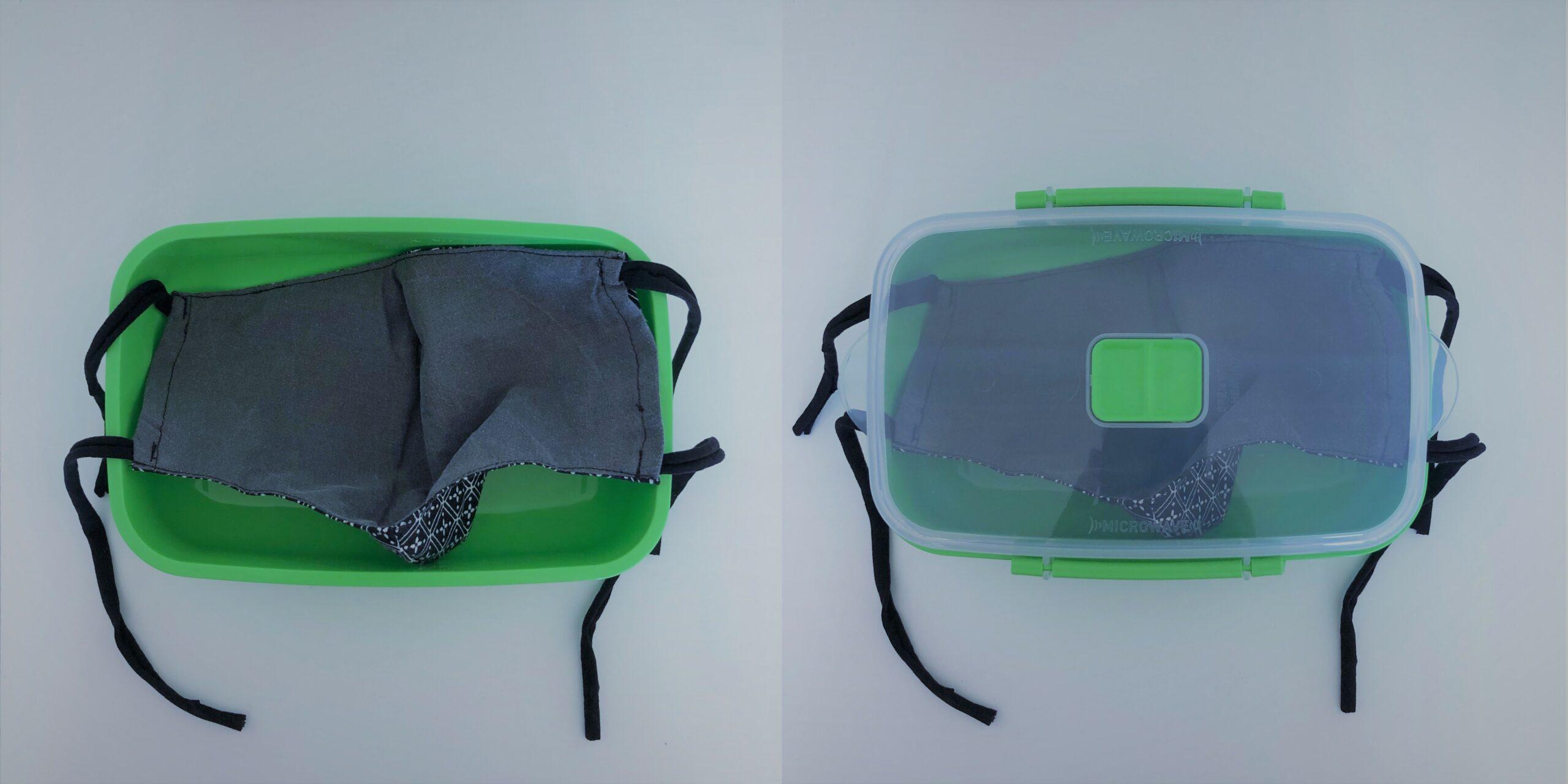Combinatiefoto: doos met deksel om een mondmasker in te bewaren
